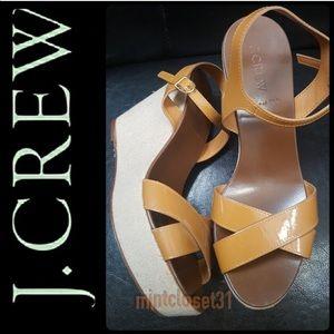 J.Crew Italy Leather Wedge Sandals
